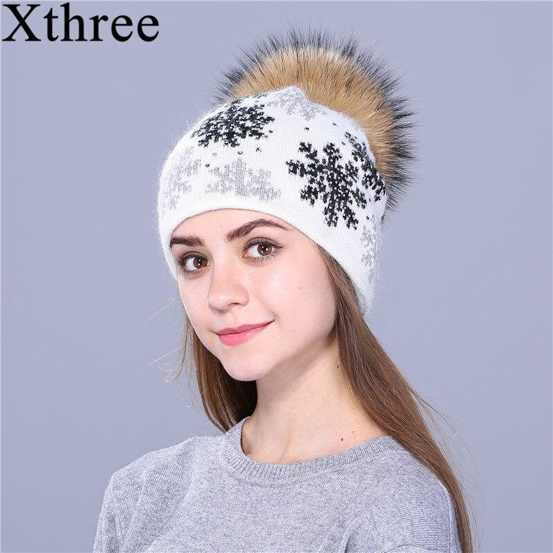 XTHREE natural mink pom poms lana piel de conejo punto hat Navidad nieve Skullies sombrero de invierno para mujeres niñas sombrero feminino