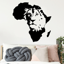 Custom Lion Africa Map Home Decorations Pvc Decal For Living Rooms Art Stickers Children Room Vinyl Mural naklejki na sciane