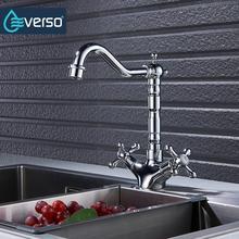 Everso латунь 360 Поворотный Кухня кран раковина смесителя черный Кухня краны одной Ручкой Torneira де Cozinha