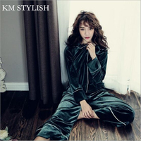 2017 New Winter Suit Female Korean Velvet Pajamas Set Super Soft Warm Lady Lapel Long Sleeved