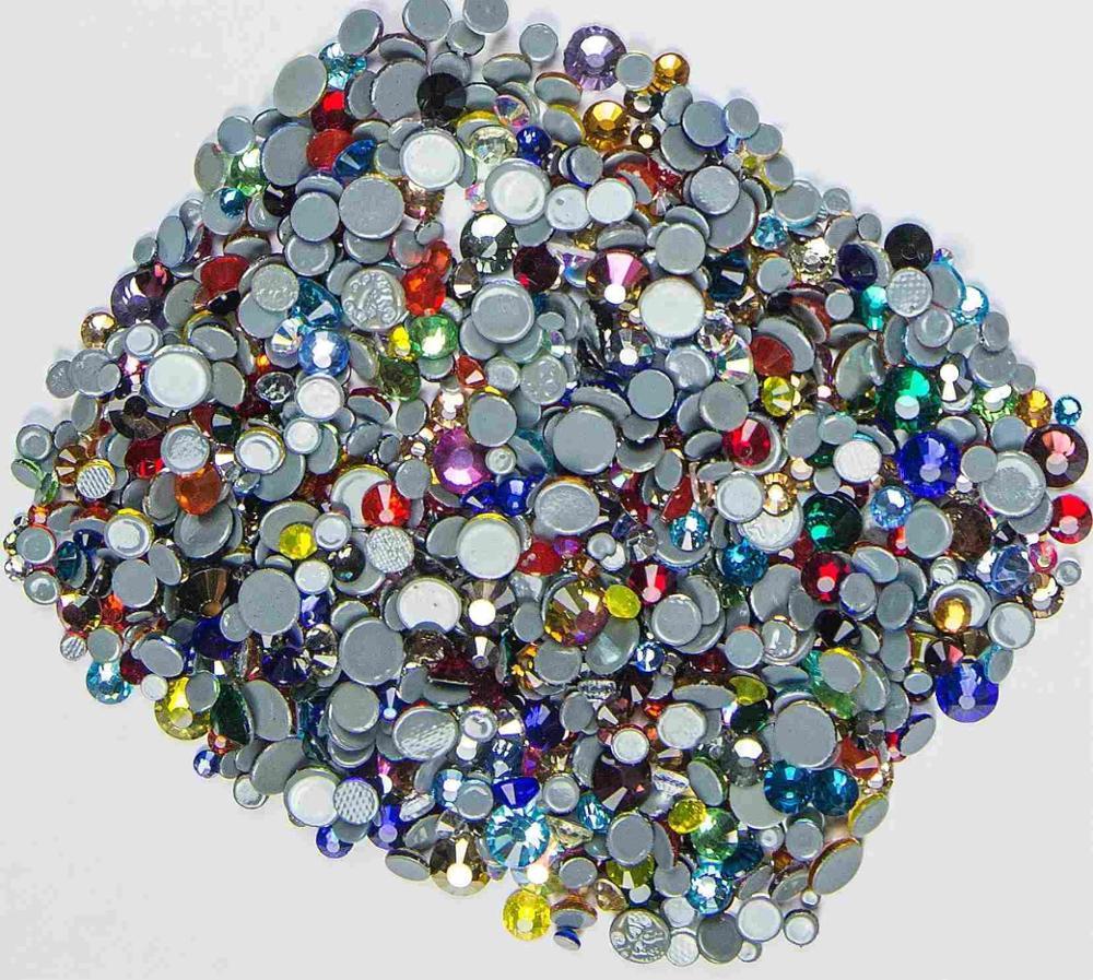 Все размеры 40 цветов кристалл AB исправление стразы, Стекло Стразы исправленное железо на Стразы для дизайна ногтей шитье и ткань Decoretion - Цвет: Mix Colors