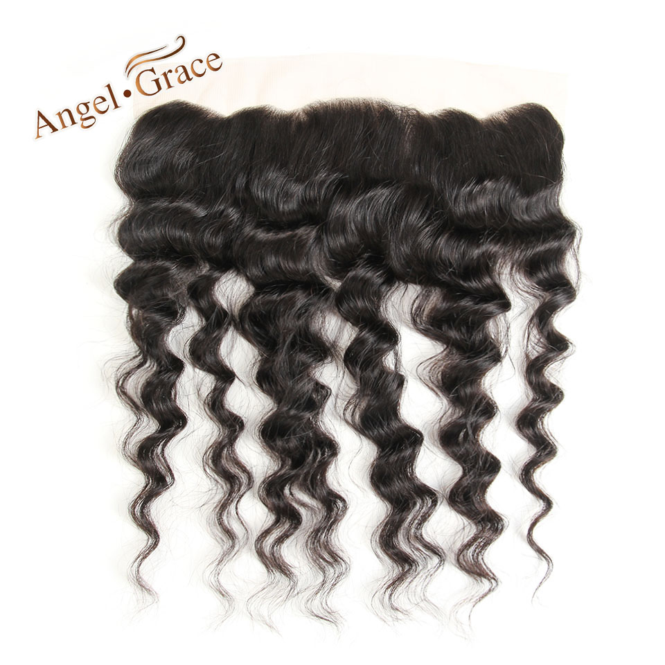 ANGEL GRACE HAIR Loose Wave 13x4 Lace Frontal Free Part Brazilian Remy Hair 100% Human H ...