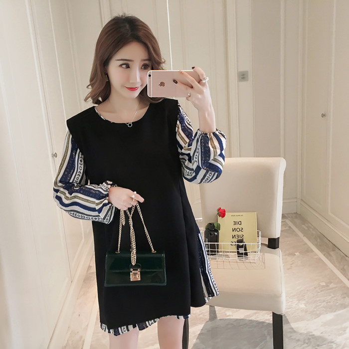 New pregnant women's dress spring Korean version of a family of wind Chiffon dress vest skirt two pieces suit for Pregnant 8033 new the spring of 2018 women s clothing sequins lapel eagle decals gauze falbala vest dress