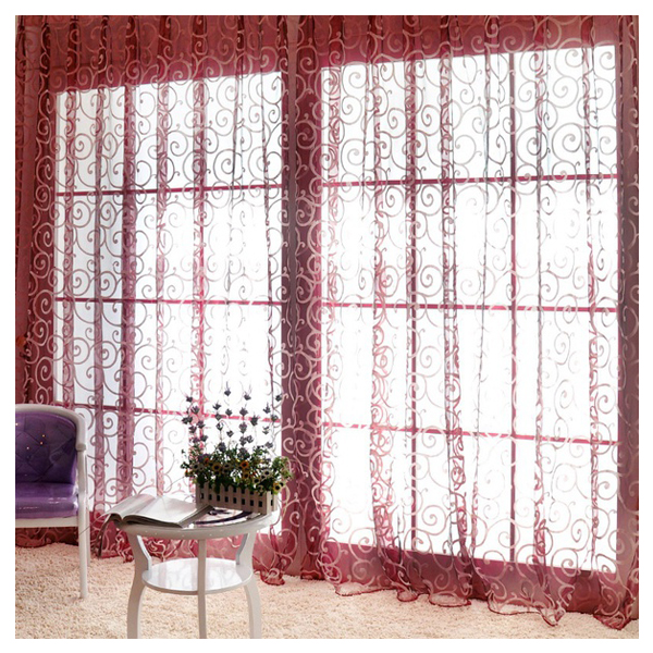 Double S hook pattern Polyester Window Curtains Drape Valances ...