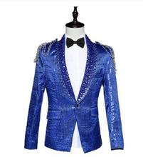 Sequins blazer men formal dress latest coat pant designs suit men costume homme terno masculino suits for men's bar host singers