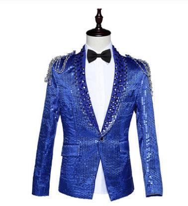 Sequins blazer men formal dress latest coat pant designs suit men costume homme terno masculino suits for men's bar host singers