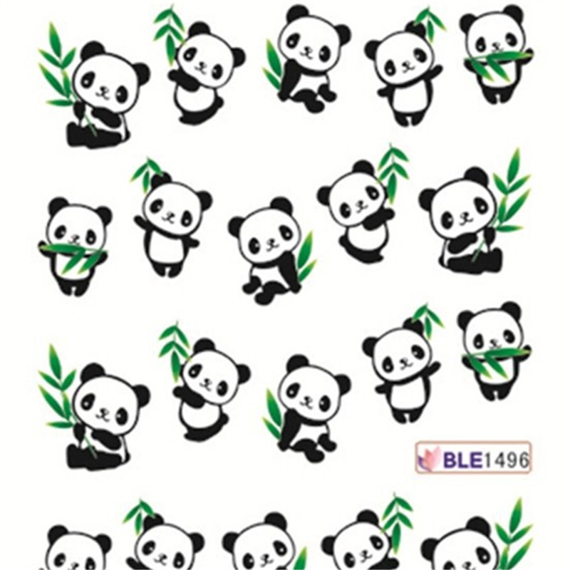 Cute Panda Water Transfer Nail Art Stickers Decal 1496 In Decals From Beauty Health On Aliexpress