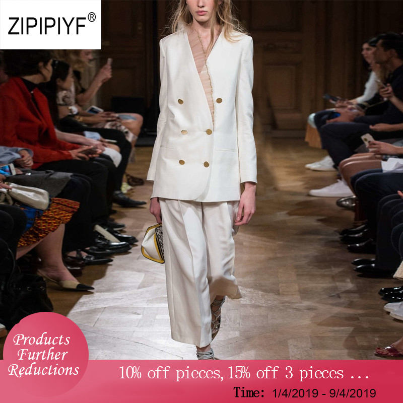 Original Zipipiyf Office Lady Suit Sets organza Stringy spliced V neck Double Breasted Blazer jacket Straight