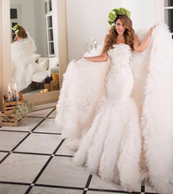 Luxury Royal Mermaid Lace Wedding Dresses 2016 with Cathedral Train Beaded Vestido de noiva Plus Size Ruffled Bridal Gowns RKW1