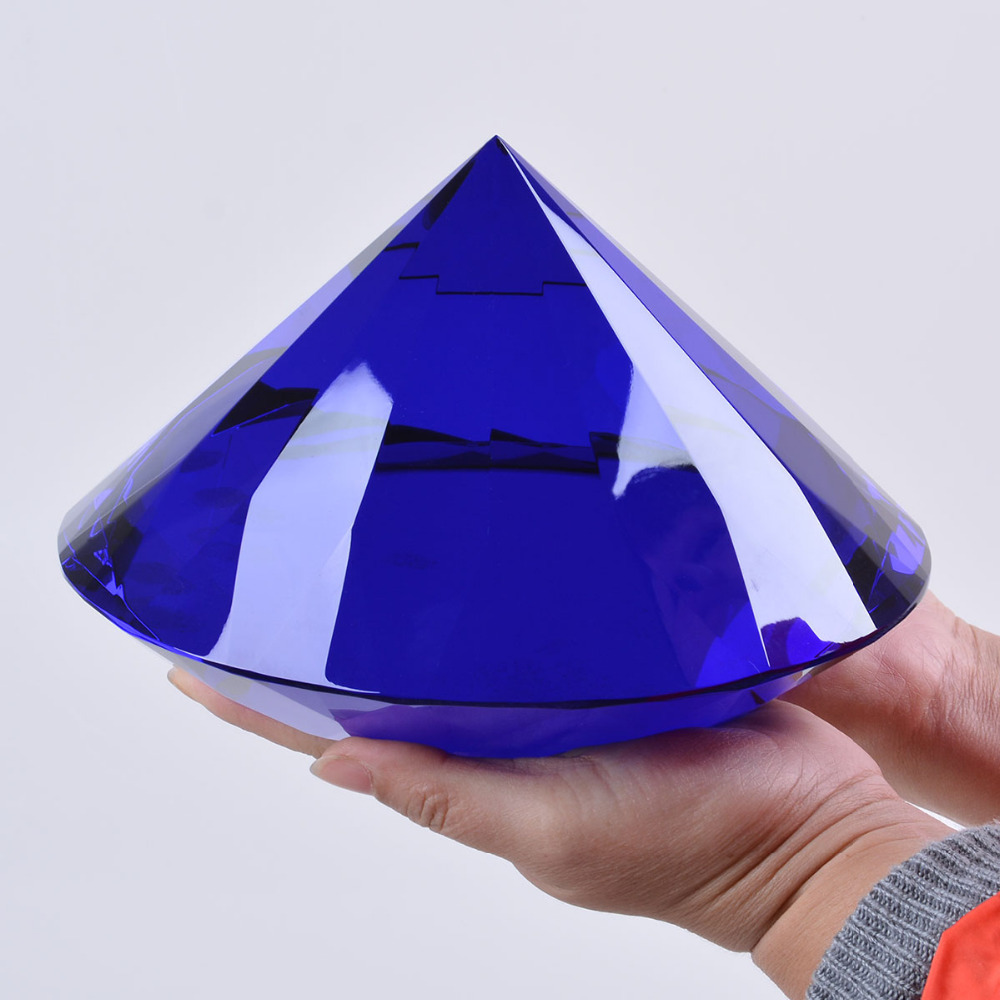 Mother's Day  Big Crystal Diamond paperweight Mode home and office decorations 200mm 1pcs Blue Color with gift box