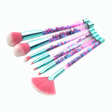 New 7Pcs Glitter Liquid Handle Makeup Brush Set Foundation Blending Power Eyeshadow Cosmetic Beauty Make Up Tools With Pvc Bag недорого