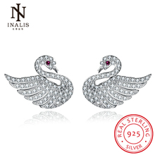 INALIS Wholesale 925 Sterling Silver Swan Stud Earrings with Zircon Stone for Women Fine Jewelry Gift