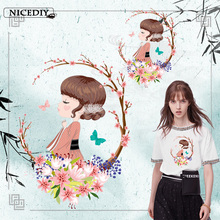 Nicediy Beautiful Girl Patch Iron On Appliques High Quality Stripe Sticker Clothes DIY Heat Transfer Washable Fashion Patches