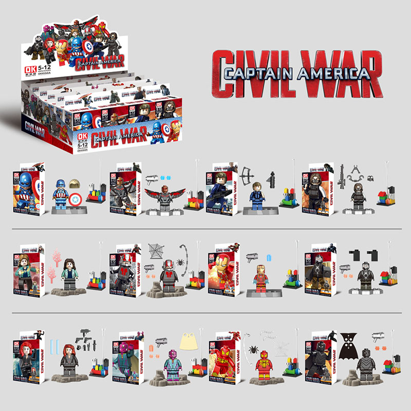 Lensple 12pcs/set Captain America 3 Civil War Iron Man Falcon Black Panther Spider Man Toy Figure Building Blocks Kids Gift