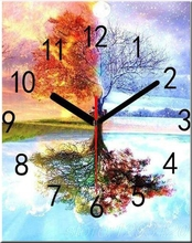 new sets Clock And Tree Diy diamond painting crystal square drill embroidery cross-stitch free shipping