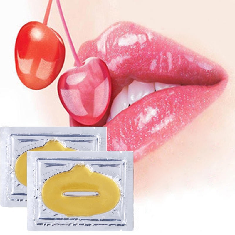 2014 New Women Lady Lips Care Gold Sexy Crystal Membrane Collagen Moisture Essence Lip Masks  10pcs