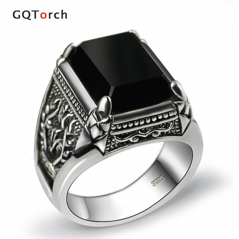 Black Obsidian Ring Vintage 100% Real Pus