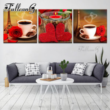 FULLCANG diy 3pcs/set diamond embroidery sale hot coffee rose triptych 5d mazayka painting full square/round drill FC914