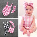 Baby Girl Plaid Romper 2016 Brand Summer Clothing For Newborn Baby Headband And Suspenders Sleeveless Rompers Coverall