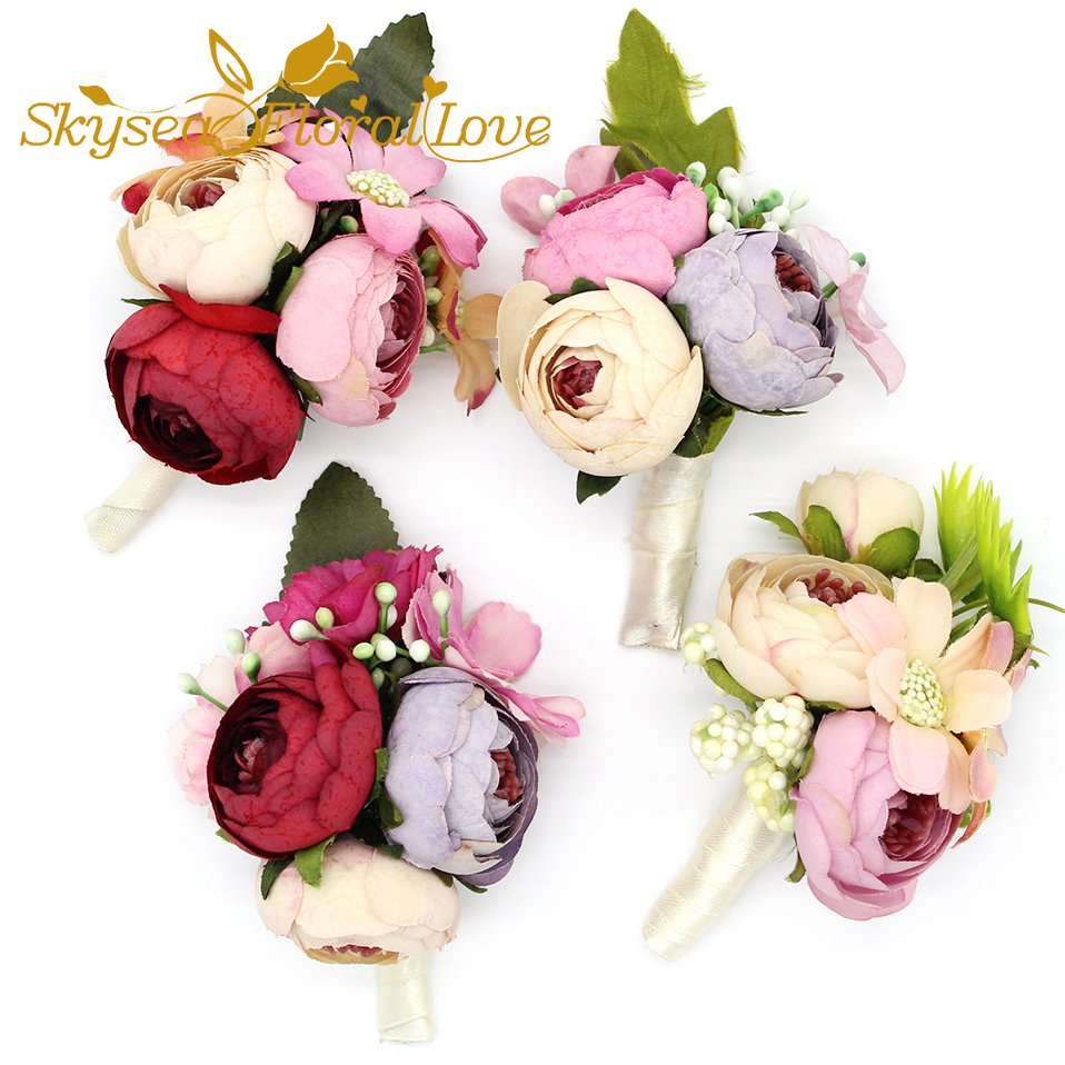 Wedding Corsages And Boutonnieres Artificial Tea Rose Daisy Flower