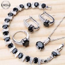 Bridal Silver 925 Jewelry Sets For Women Black Earrings Wedding Costume Jewelry Zircon Rings Bracelet Necklace Set Gifts Box