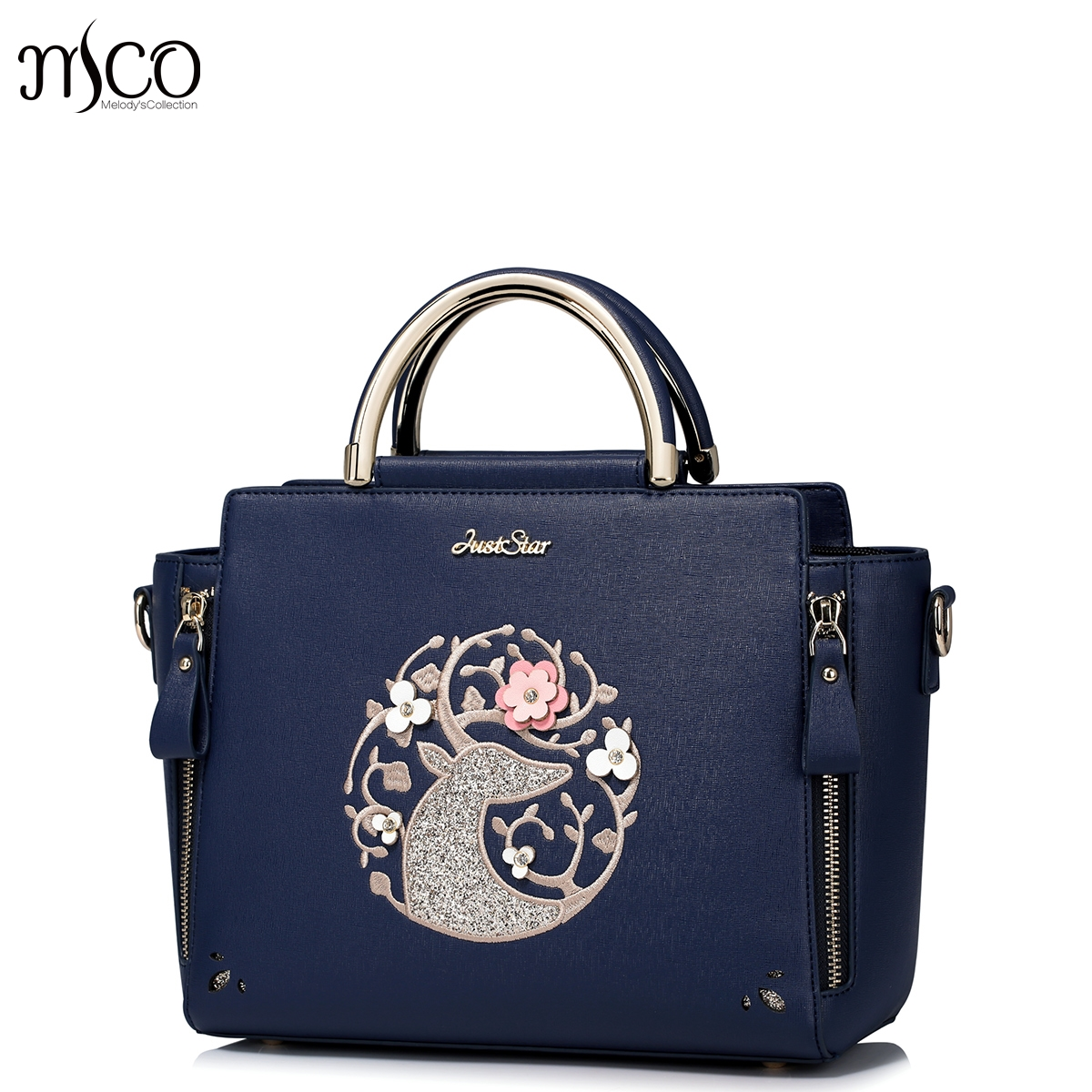 2018 Summer Fashion Sequined Reindeer Women Satchel Handbag Flower Embroidery Shoulder Bag Leather Smile Tote Bags For OL Ladies chinese style genuine leather bag women handbag embroidery ethnic summer fashion handmade flowers ladies tote shoulder hand bags