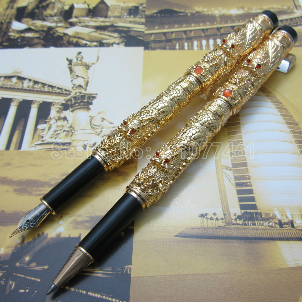 2PCS Jinhao Chinese double Dragons Playing With The Pearl  Fountain Pen and Rollerball pen Silver Gold Optional J3K77 jinhao ancient dragon playing pearl roller ball pen with jewelry on top with original box free shipping