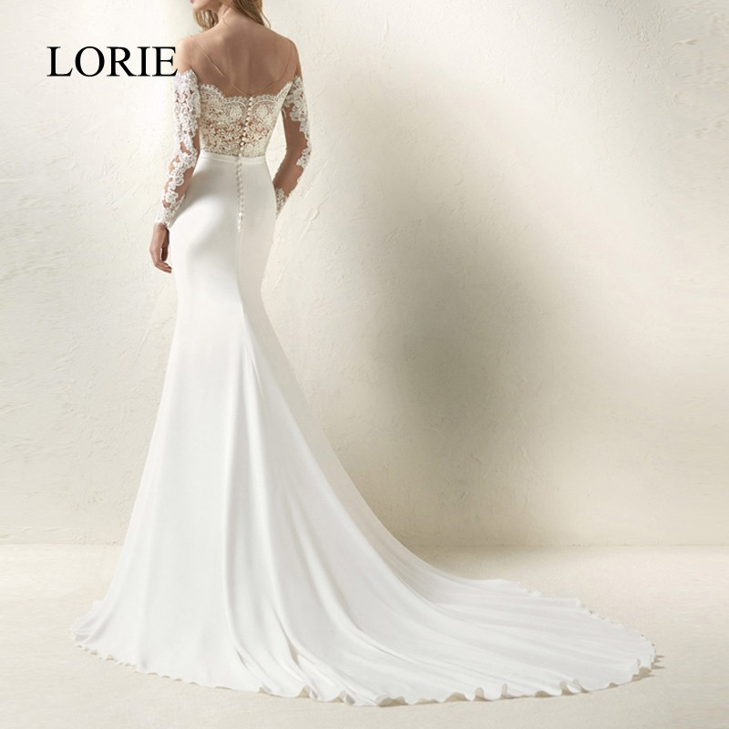 LORIE Mermaid Wedding Dresses Long Sleeve 2018 Robe De Mariee See Through Sexy Bridal Dresses Elastic Women Fall Wedding Gowns