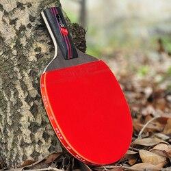Fibra de carbono profesional raqueta de tenis de mesa hoja de goma con doble cara granos-Ping pong raqueta de alta calidad con bolsa