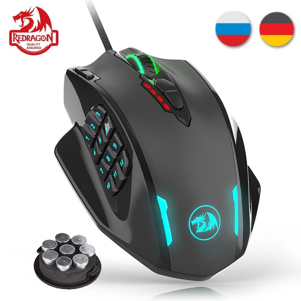 Redragon m908 12400 dpi impacto gaming mouse 19 botões programáveis rgb led laser wired mmo mouse alta precisão mouse pc gamer