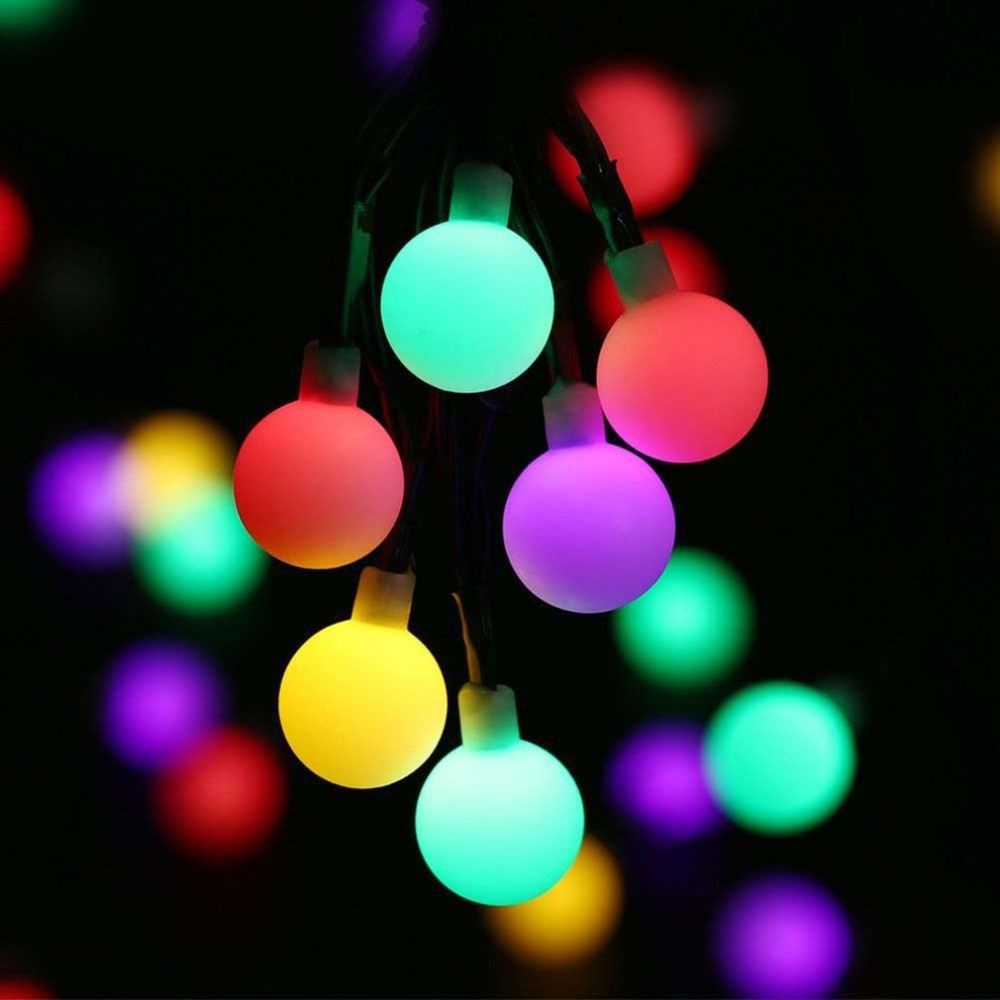 ICOCO <font><b>30</b></font> <font><b>LED</b></font> <font><b>Solar</b></font> Energy Acrylic Frosted Small White Ball Light String Decorative Light image