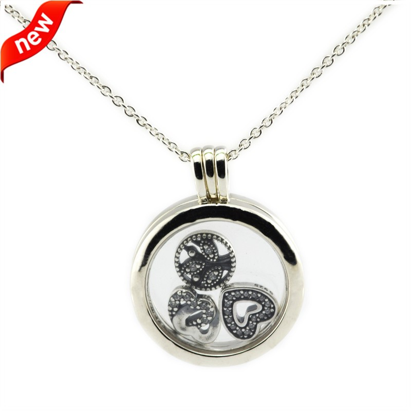 CKK 100% 925 Sterling Silver Jewelry Medium Floating Locket Silver Pendant and Necklace with Petite Charms Fashion Necklaces CKK 100% 925 Sterling Silver Jewelry Medium Floating Locket Silver Pendant and Necklace with Petite Charms Fashion Necklaces