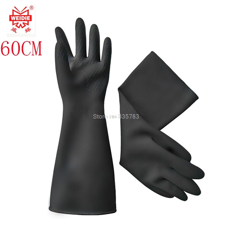 long rubber gloves 60CM acid oil thickened latex glove large size work gloves free shipping стоимость