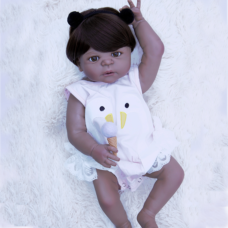 Black skin Silicone Body Reborn Baby Doll Toy 22 Newborn Pink swan princess Babies icy Doll soft hair Kid Gift juguetes bjdBlack skin Silicone Body Reborn Baby Doll Toy 22 Newborn Pink swan princess Babies icy Doll soft hair Kid Gift juguetes bjd