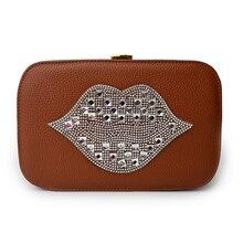 Модный дизайн персонализированные алмаз сексуальные губы свободного покроя женская сумка цепь сумка маленькая сумка коробка мешок щитка 3 цветов