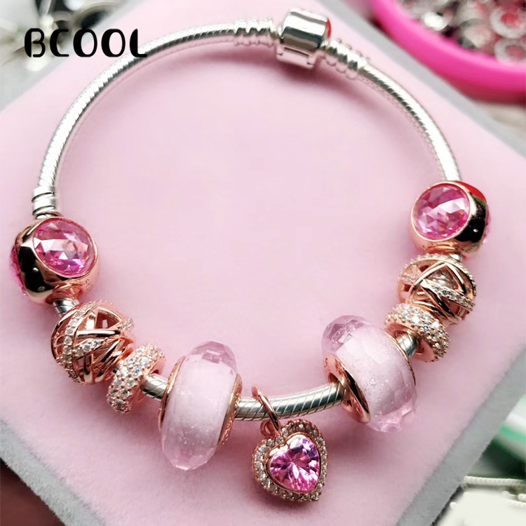 BCOOL DIY Jewelry Female Charm Fashion Silver 925 Original Bracelet, Love Series Crystal Jewelry Bracelet Jewelry GiftBCOOL DIY Jewelry Female Charm Fashion Silver 925 Original Bracelet, Love Series Crystal Jewelry Bracelet Jewelry Gift