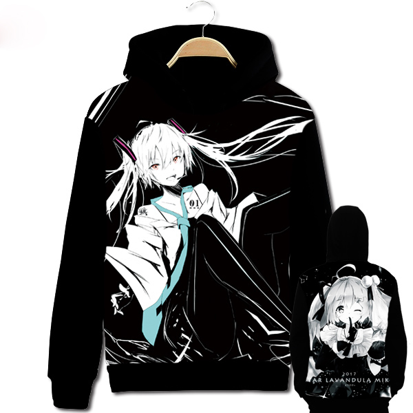Anime Hatsune Miku Double sided Print Cosplay Hoodie Black Hooded Sweatshirt Pullover Coat Women Men Autumn Winter Customize