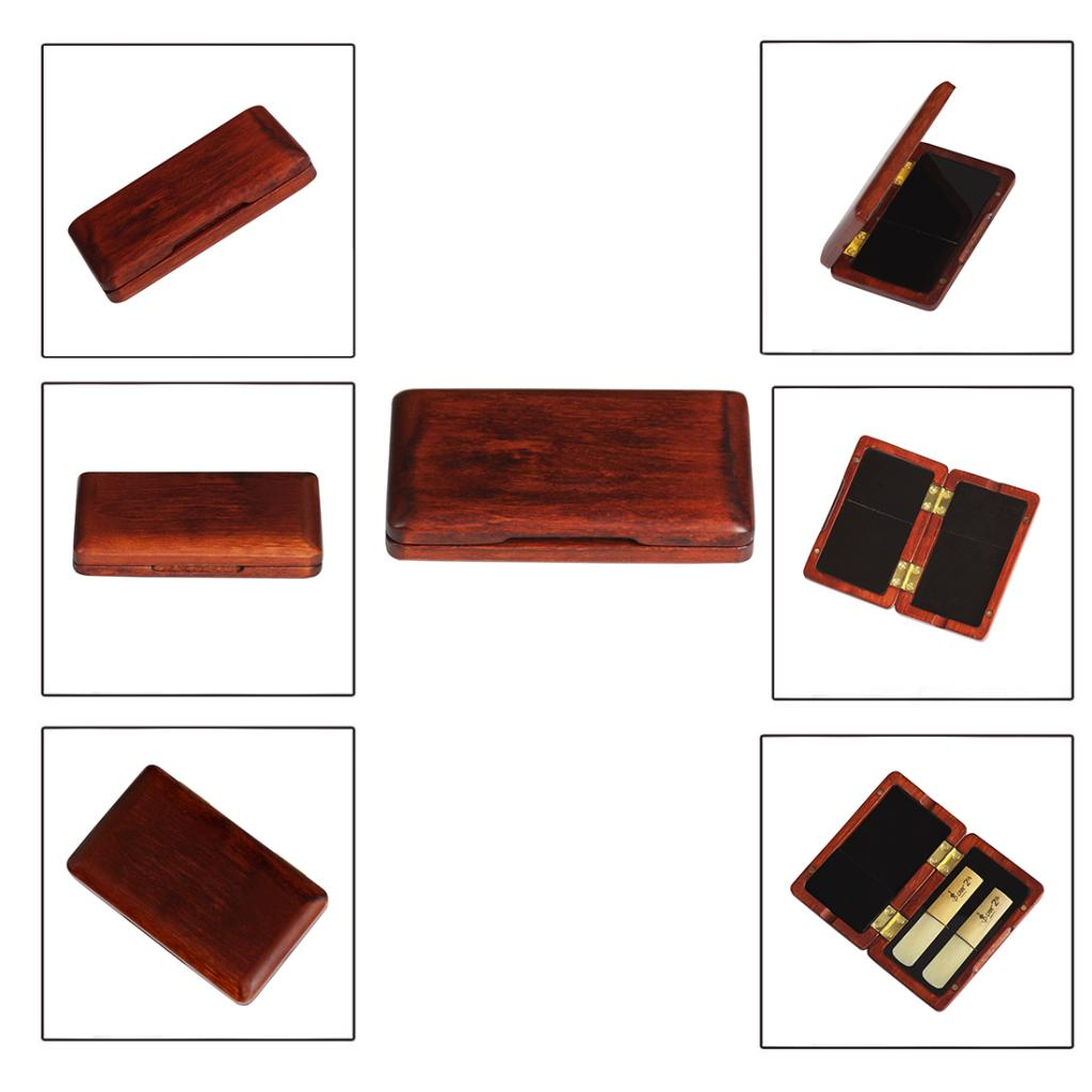 Купить с кэшбэком Solid Wood Reed Case Wooden Box for Tenor Alto Soprano Saxophone Clarinet Reeds, 2 Pieces Capacity