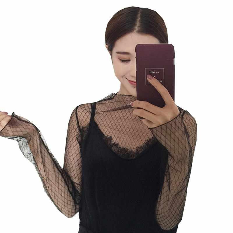 Модные тренды, сетчатые Женские топы с длинным рукавом, сексуальные прозрачные черные кружевные рубашки с высоким воротом, футболки в стиле панк, шикарная футболка YW