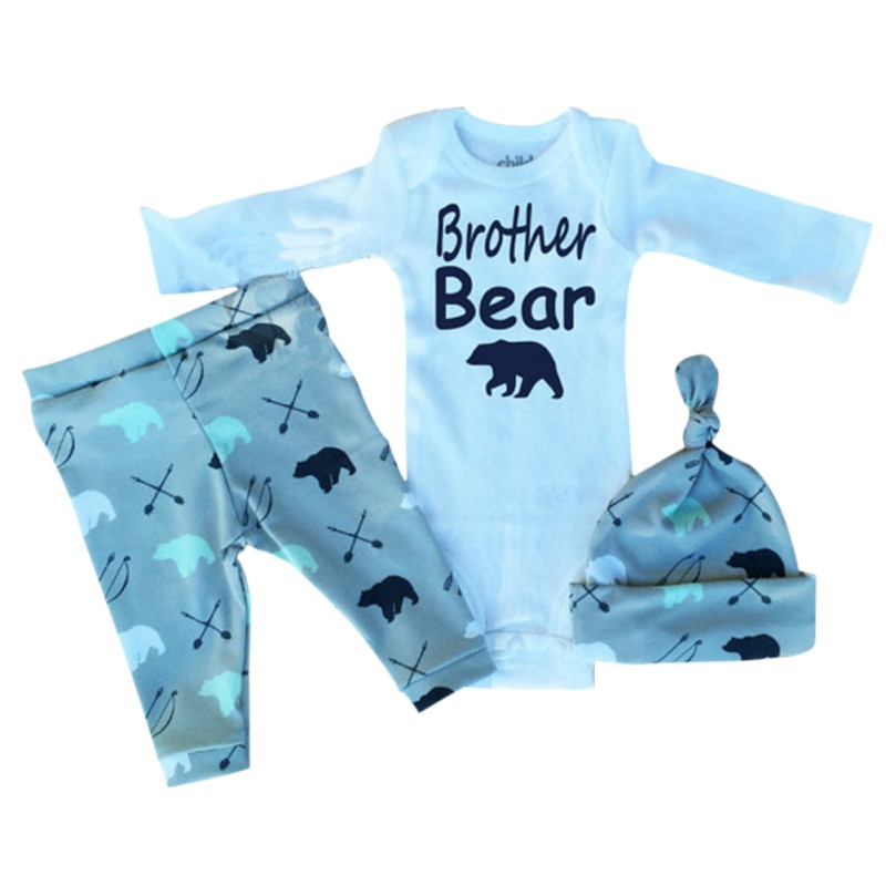 3 Pcs/Set Baby Clothing Newborn Outfits Infant Baby Boys Girls Cartoon Cotton Long  Sleeve T-Shirts +Trousers+Hats cotton baby rompers set newborn clothes baby clothing boys girls cartoon jumpsuits long sleeve overalls coveralls autumn winter