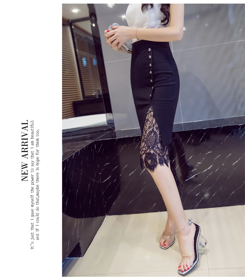 Women's Skirt High Waist Pencil Skirt Summer 2017 Fashion Women Knee Length Lace Patchwork Lady Formal Work Skirts Plus Size 12