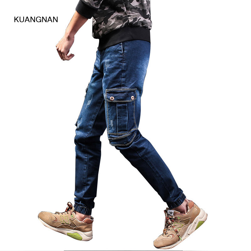 Size 28-40 Male Cargo Jeans Pant Street Fashion Hiphop Casual High Quality Men Slim Fit Denim Trousers jeans men s blue slim fit fashion denim pencil pant high quality hole brand youth pop male cotton casual trousers pant gent life
