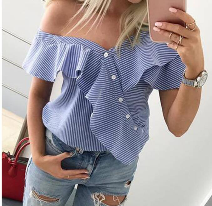2019 Summer Autumn New Fashion Women Sexy Ladies Off Shoulder Blouse Casual Butterfly Sleeve Shirts Loose Striped Button Tops in Blouses amp Shirts from Women 39 s Clothing