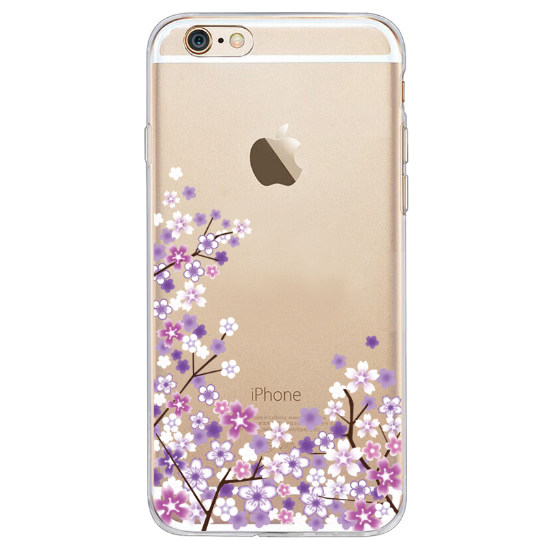 For Apple iphone 6 7 8splus x xr xs max mobile phone case painted TPU transparent silicone soft shell purple cherry tree in Half wrapped Cases from Cellphones Telecommunications