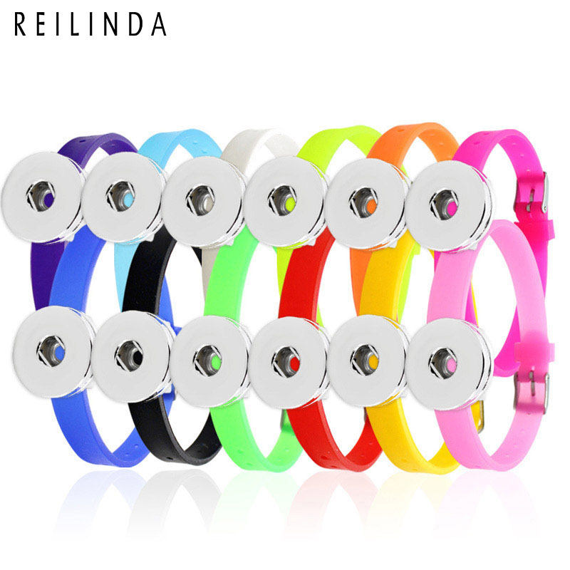 8mm Width Silicone Wristband Bracelet Fit 18mm Snap Buttons Charms Diy Snap Jewelry Accept Customization