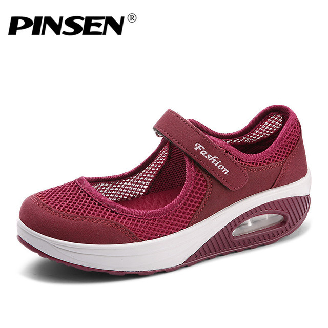PINSEN 2019 Summer Fashion Women Flat Platform Shoes Woman Breathable Mesh Casual Shoes Moccasin Zapatos