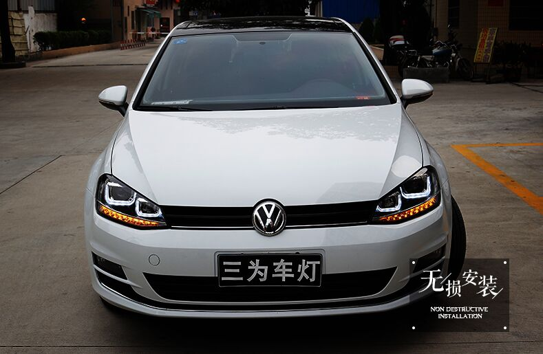 China DIY high efficiency headlight assembly VW golf7 for accessory car auto lamp with led angel eye 5000k hid bulb and ballast