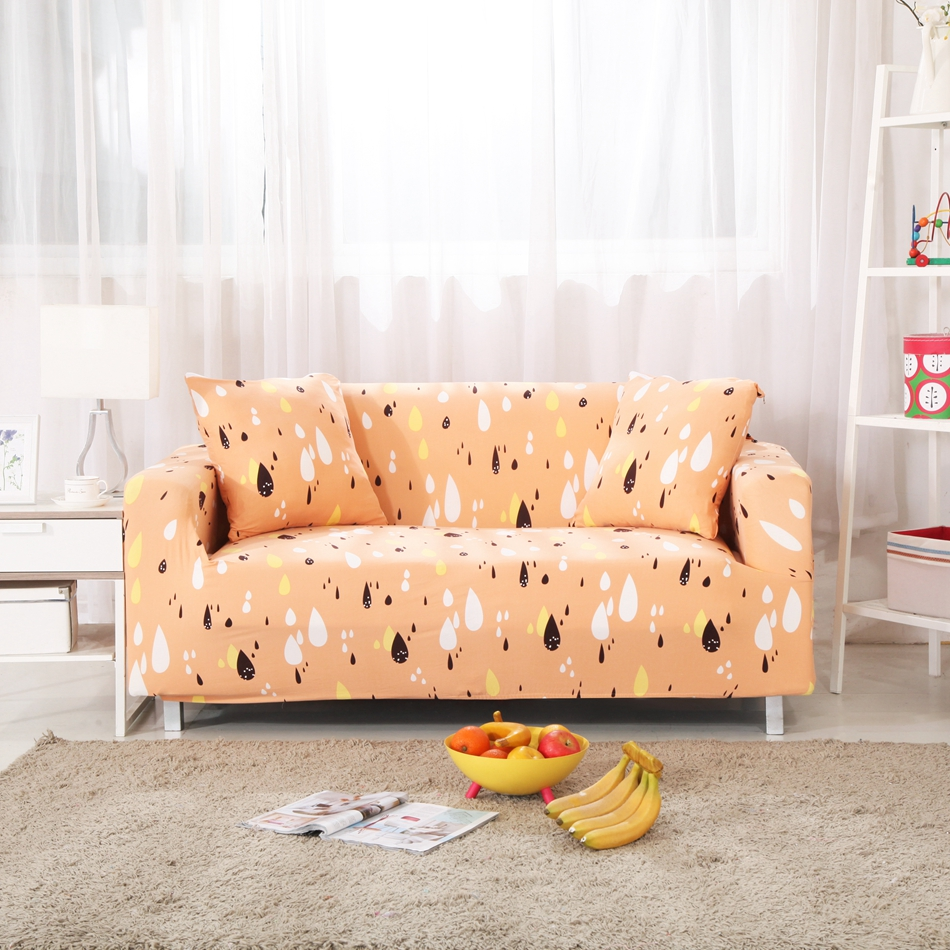 Orange Sofa Cover Cute Water drops Printed Elastic Stretchable and ...
