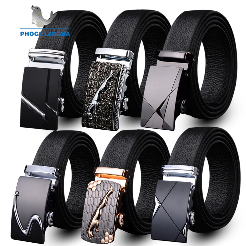 Mens Fashion Belt PU Leather Automatic Buckle Men Black Belt Designer Popular Casual Business Male Belts Luxury 3.5 CM belt