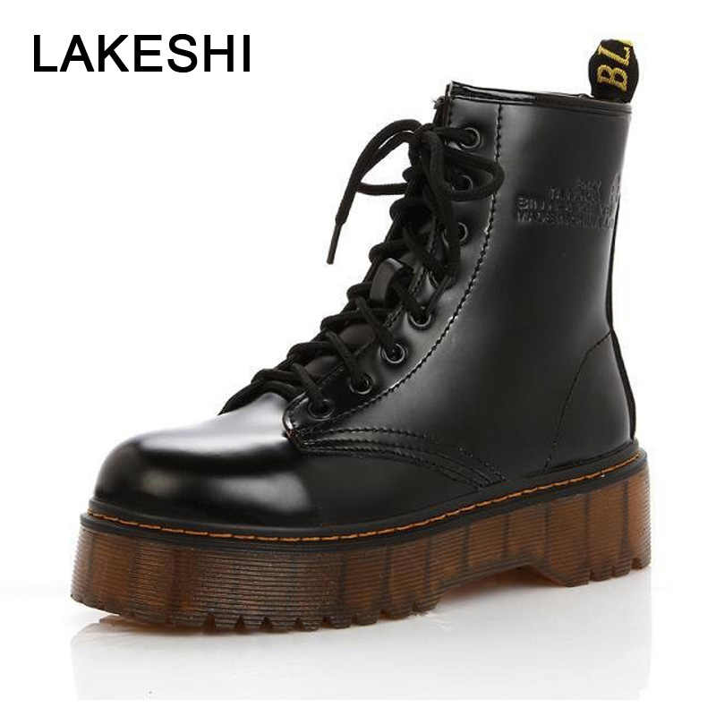 LAKESHI Creepers Women Boots Punk Short Boots Female Genuine Leather Shoes Women Autumn Thick Heel Ankle Boots Female Boots